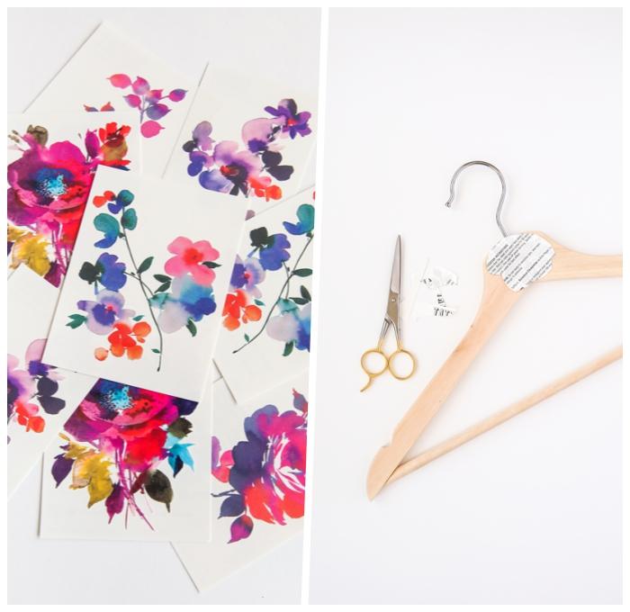 persönliche geschenke für frauen, personalisierte kleiderbügel, sticker mit bunten blumen