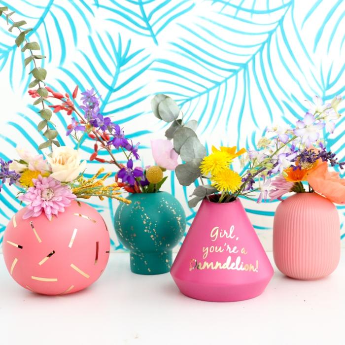persönliche geschenkideen, diy geschenke für frauen, selbsgtemachte vasen, frische blumen, diy