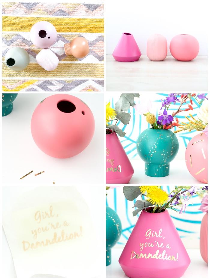 persönliche geschenkideen, vasen färben und dekorieren, schritt für schritt anleitung, frische blumen