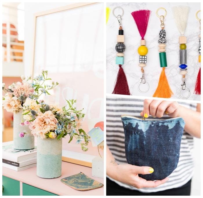 persönliche weihnachtsgeschenke für frau, geschenke selber amchen, vasen in beton optik, tasche