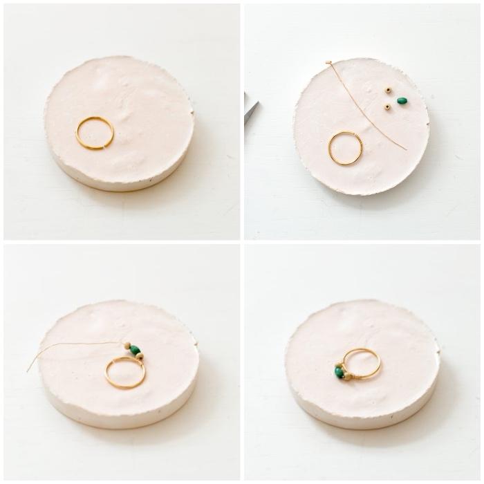 personalisierte geschenke freundin, diy bastelanleitung, ring selber machen, bunte steine