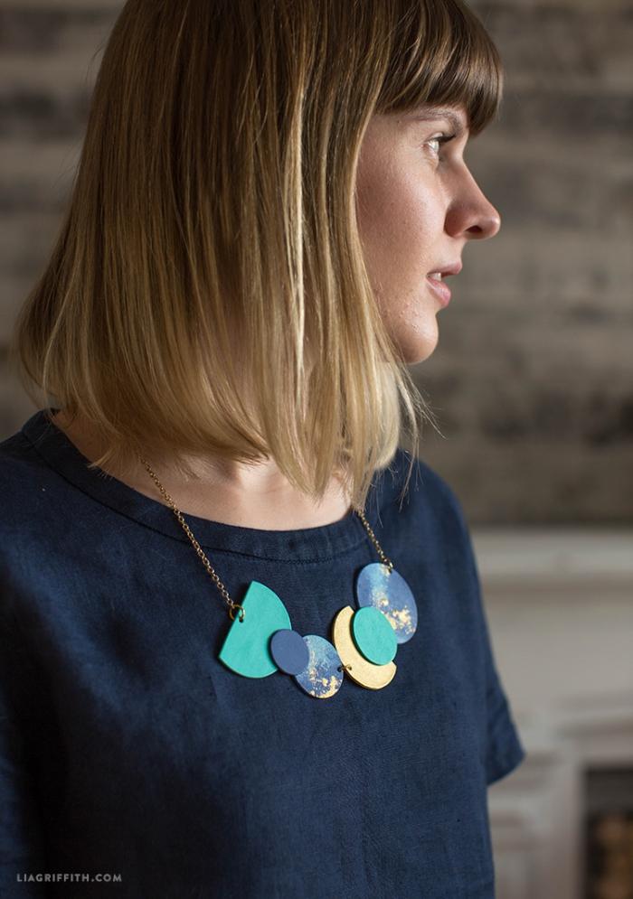 schmuck selber machen, halskette mit geometrischen figuren, personalisiete geschenke freundin