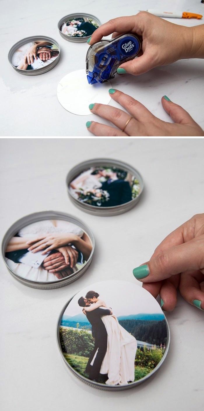 diy ideen, geschenk für mann, glasuntersetzer mit eigenen fotos, personalisierte geschenke fuer maener