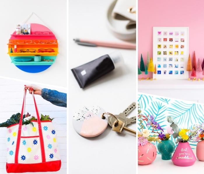 personalisierte geschenke, diy bastelideen, schlüsselnahänger selber machen, diy geschenkideen, selbstgemachte fotowand, tasche mit blüten, brillenständer in der farben des regenbogens