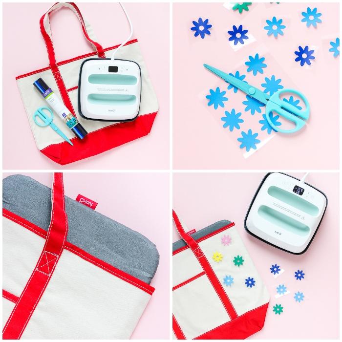 personalisierte geschenke, diy tutorial, tasche selber machen, kleine blue blüten, sticker