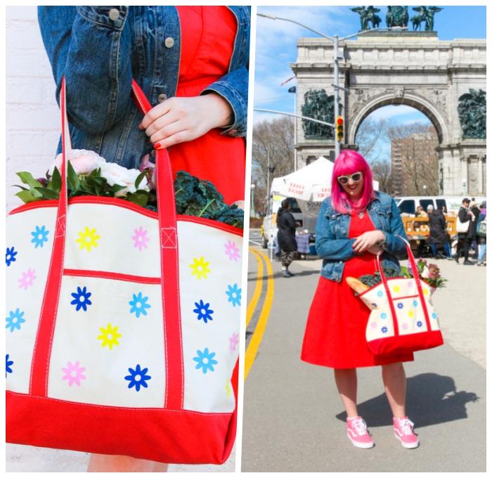 personalisierte geschenke, diy geschenkideen, große tasche, bunte blüten, rosa haare, diy