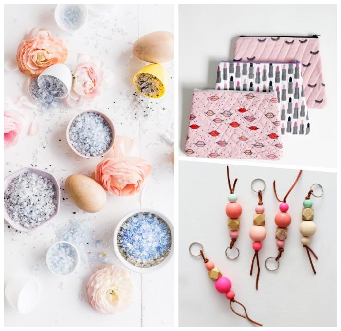 diy geschenke ideen, badesalz mit lavendel, personalisierte geschenke freundin, bunte kosmetiktaschen, schlüsselanhänger mit holzperlen