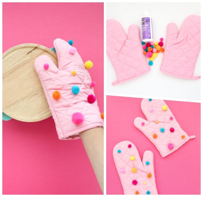 personalisierte geschenke weihnachten, rosa handschuhe, ofenhandschuhe mit bunten bommeln dekorieren