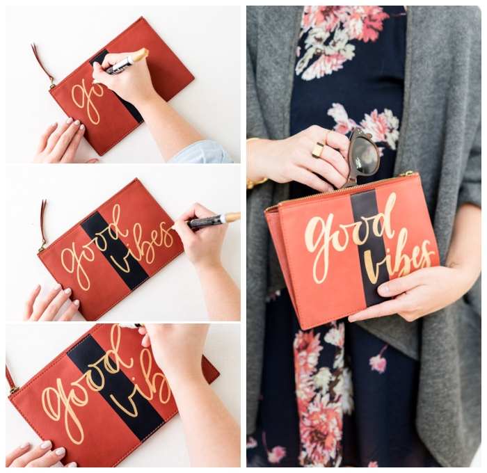 personalisierte geschenke weihnachten, tasche mit goldenem marker dekorieren, good vibes, geschenkideen diy