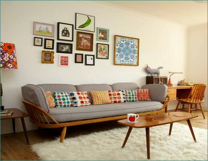 vintage bilder wohnzimmer:retro bilder wohnzimmer : Retro Wohnzimmer Gestaltung farbreich