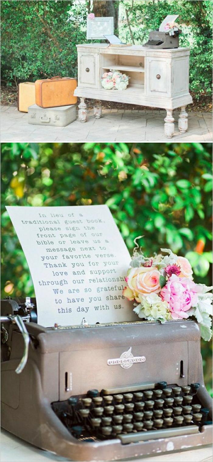 romantische-Hochzeitsdekoration-vintage-Schreibmaschine-Blumen