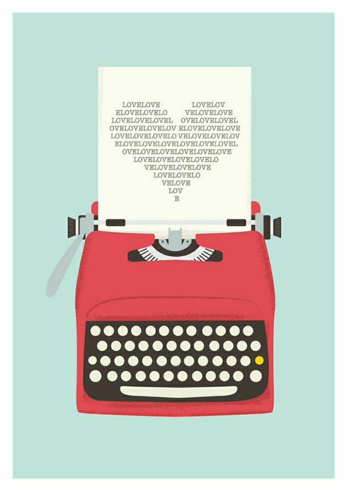 rote-Schreibmaschine-Zeichnung-Liebe-Brief