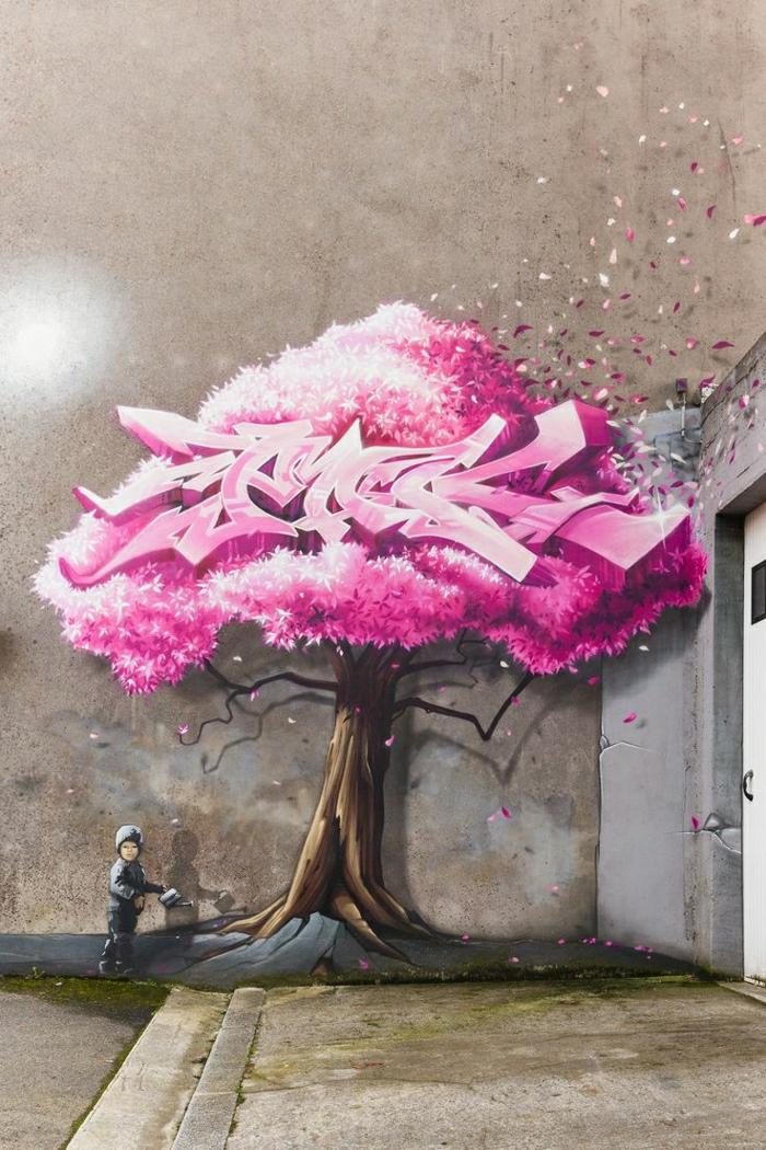 schön-art-Junge-Gießkanne-Baum-rosa-Blätter-Graffiti