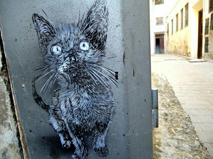 schöne-Graffiti-Katze-lustig-süß