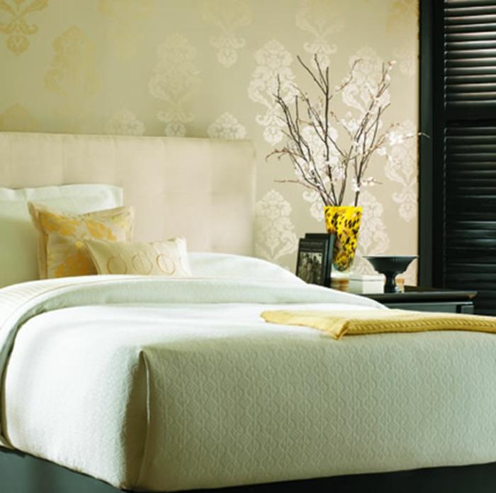 schlafzimmer-Tapeten-glänzend-gelb-Gold