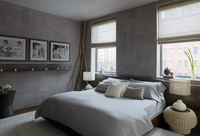 schlafzimmer-in-grau-bequemes-bett