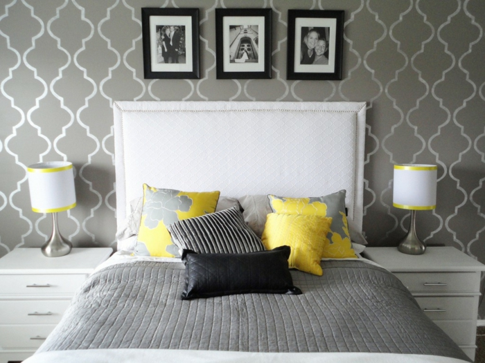 schlafzimmer-in-grau-interessante-tapeten