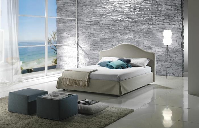 52 tolle vorschl ge f r schlafzimmer in grau for Steinwand schlafzimmer
