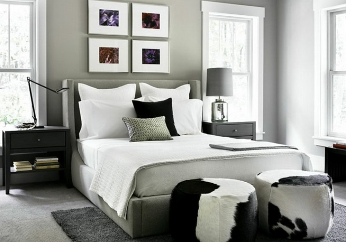 schlafzimmer-in-grau-schwarze-elemente