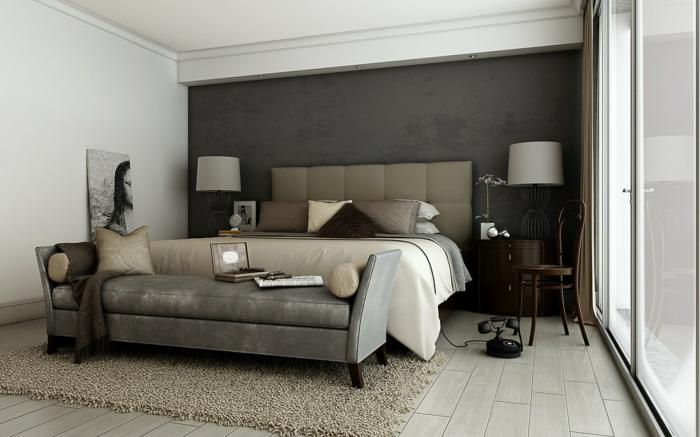 schlafzimmer farben - graue gestaltung - modernes bett