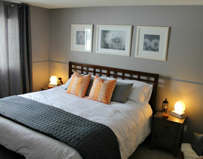 schlafzimmer-in-grau-tolles-modell-drei-bilder-über-dem-bett