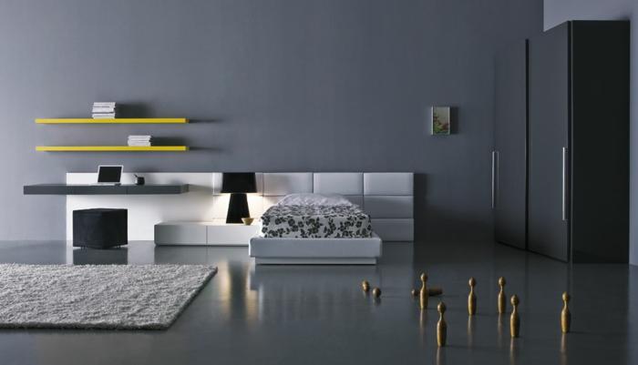 einmaliges design - schlafzimmer farben - gelbe regale