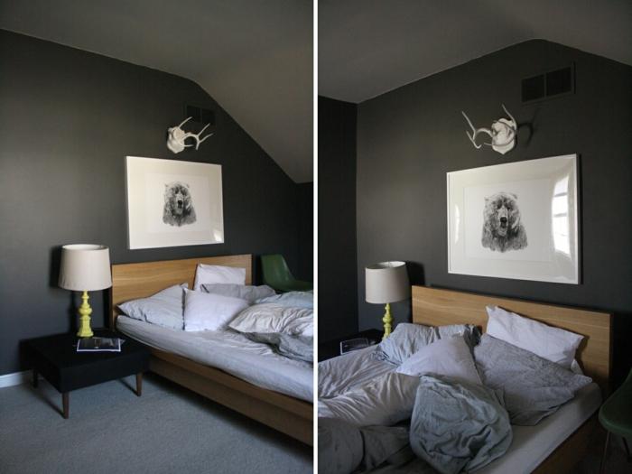 zwei bilder - schlafzimmer farben - grau und schwarz