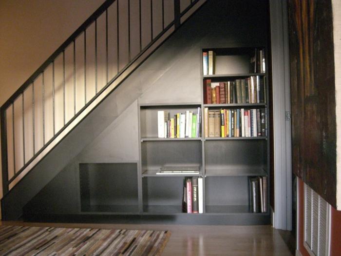 bucherregal unter der treppe design idee bucherregal unter. Black Bedroom Furniture Sets. Home Design Ideas