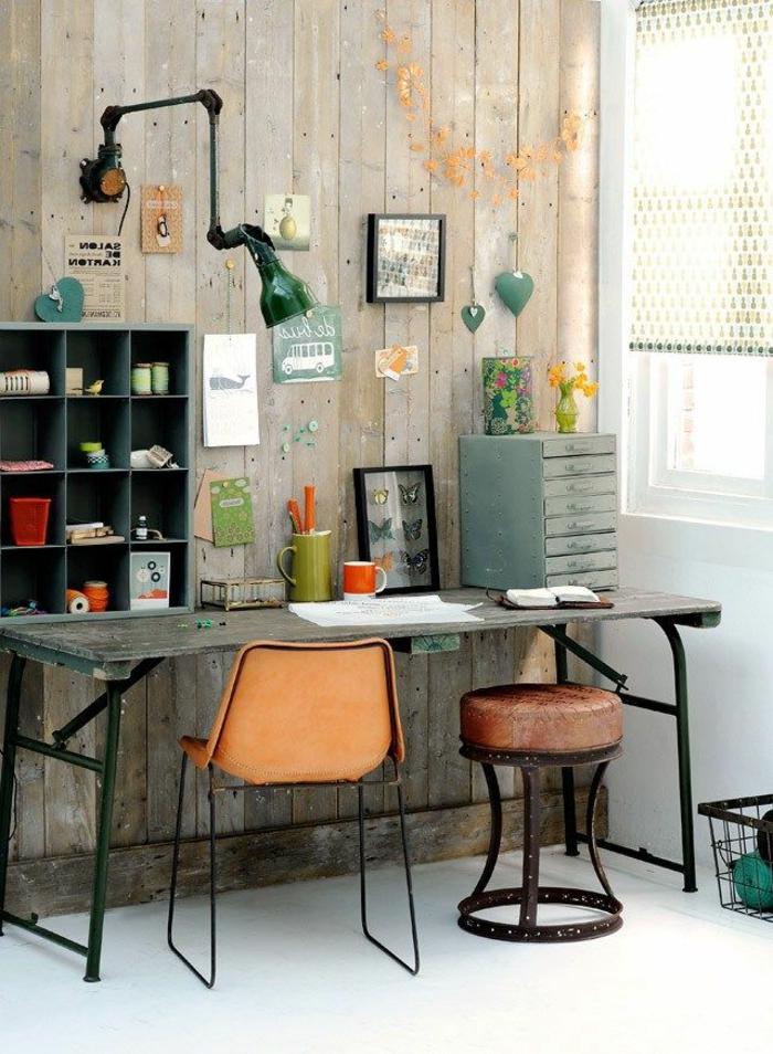 schreibtisch-ideen-stuhl-in-orange-farbe