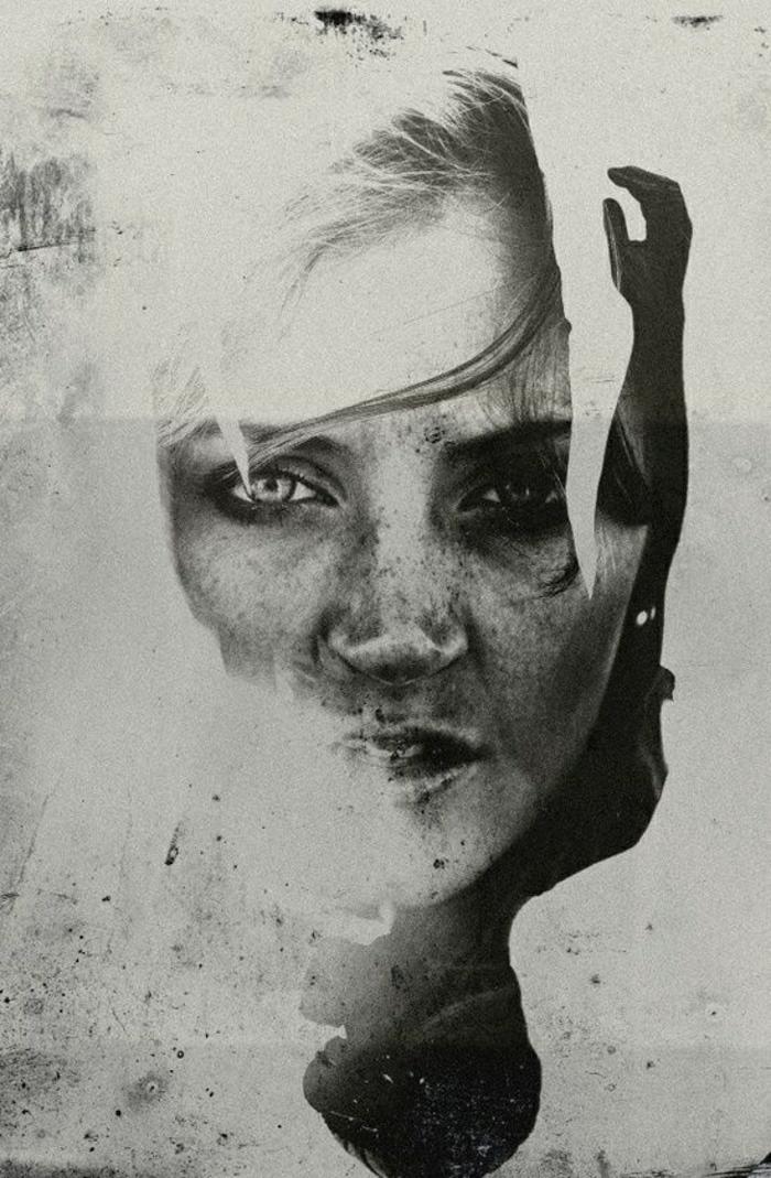 schwarz-weiße-Graffiti-street-art-weibliches-Gesicht-Hand