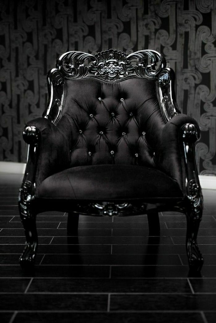 schwarzer-Sessel-Samt-Barock-Stil-elegantes-Modell