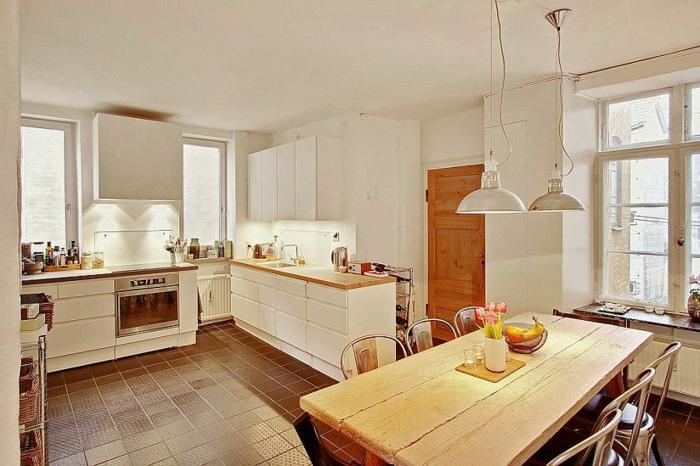 Skandinavisch Einrichten Moderne Küche Holztisch
