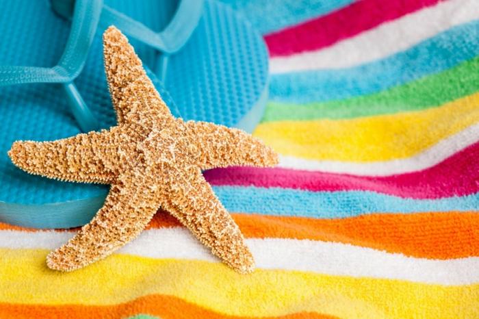 sommerliche-Laune-Seestern-Strandtuch-bunt-Streifen-blaue-Flip-Flops