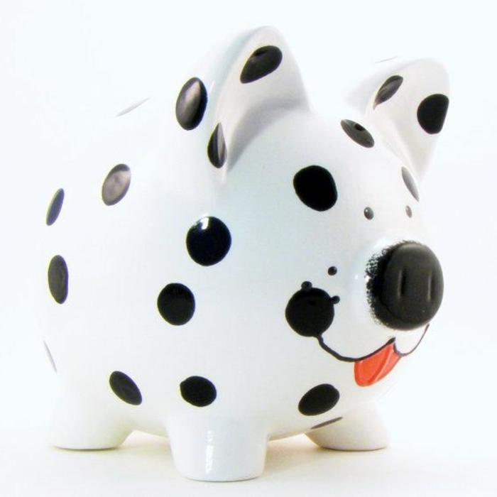 sparschwein-bemalen-weißes-modell-schwarze-punkte