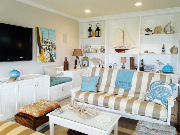 strand-deko-gemütliches-mediterranes-wohnzimmer