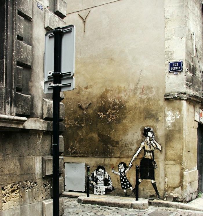 street-art-Schablonengraffiti-Mutter-Kind-älterer-Mann-Bettler
