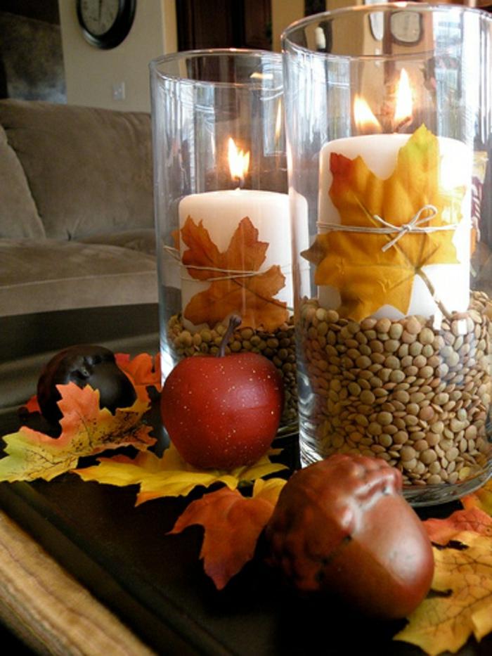 40 tolle varianten f r tischdeko im herbst for Herbstdeko im glas