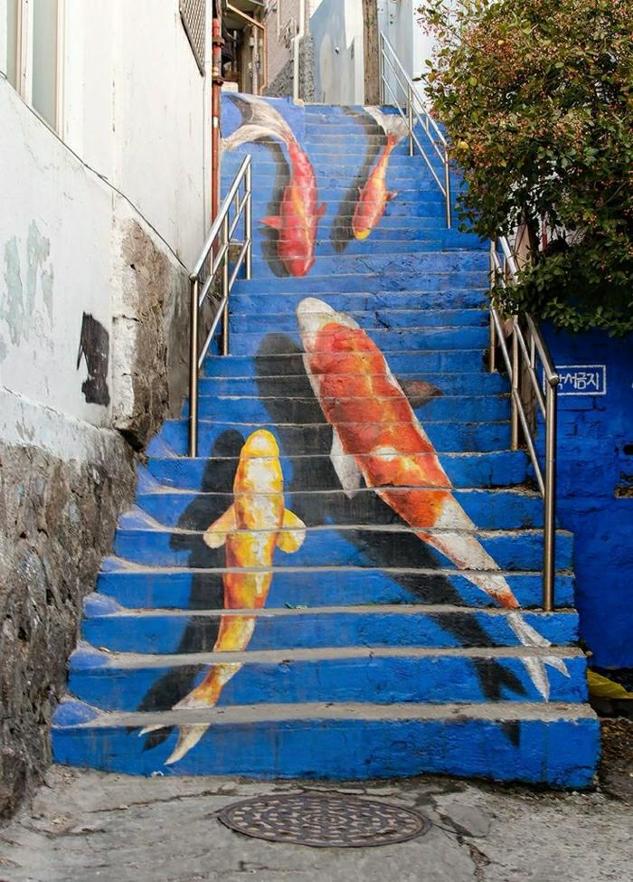 urban-street-art-Meer-Fische-Graffiti-Treppen