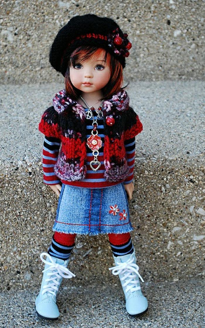 vintage-Puppe-Denim-Rock-Turnschuhe-gestreifte-Bluse