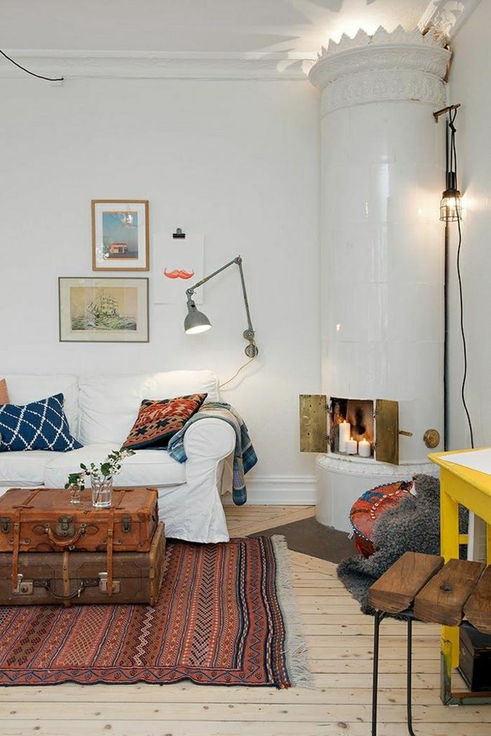 vintage-Teppich-gelber-Schribtisch-Koffer