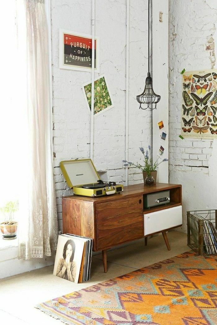 vintage-Teppich-retro-Gestaltung-weiße-Ziegelwände
