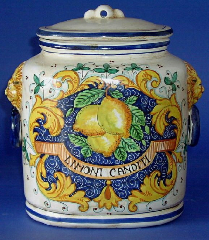 vintage-italienischer-Kanister-Keramik-Zitronen-Behälter