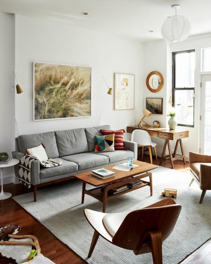 wohnzimmer-gestalten-braune-und-grüne-Farben