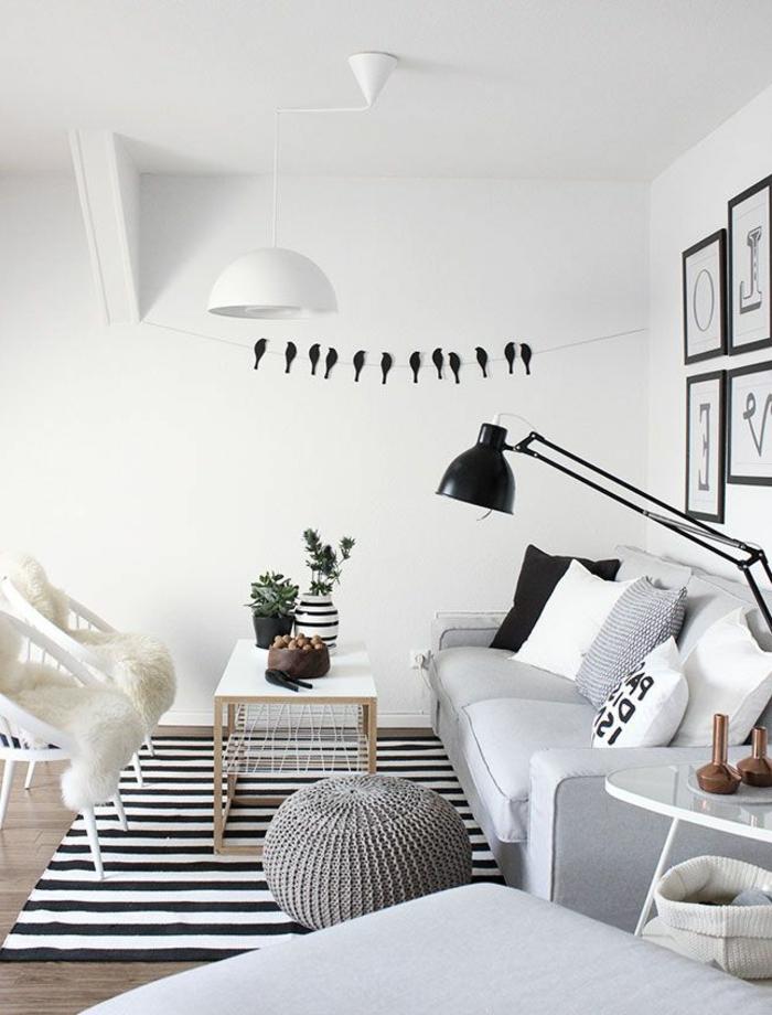 Wohnzimmer Gestalten In Weiß Und Schwarz Mit Bequemen