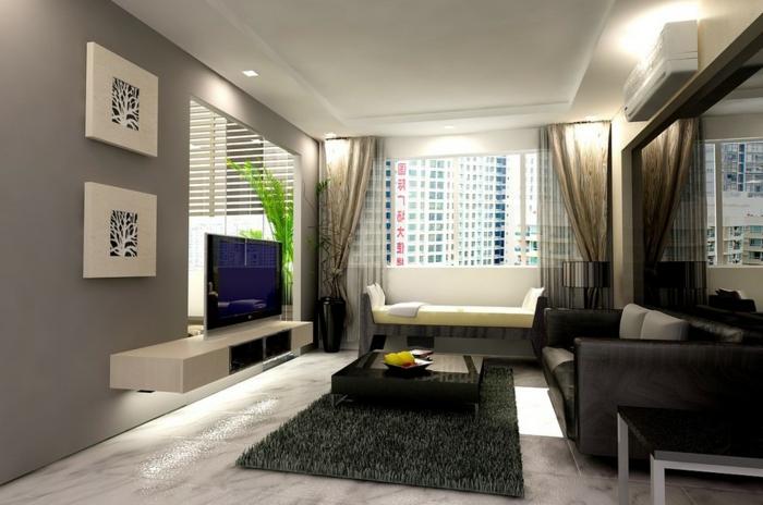 Entzuckend Wohnzimmer Gestalten Schwarzes Beledertes Sofa