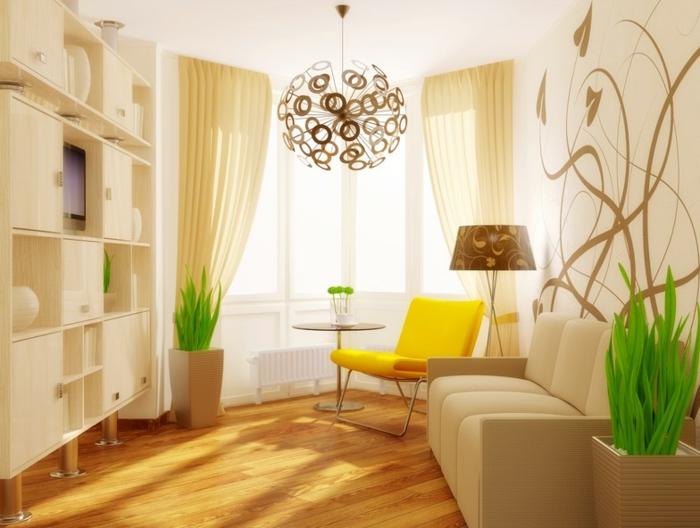 wohnzimmer-gestalten-weißes-Sofa-und-weiße-Regale