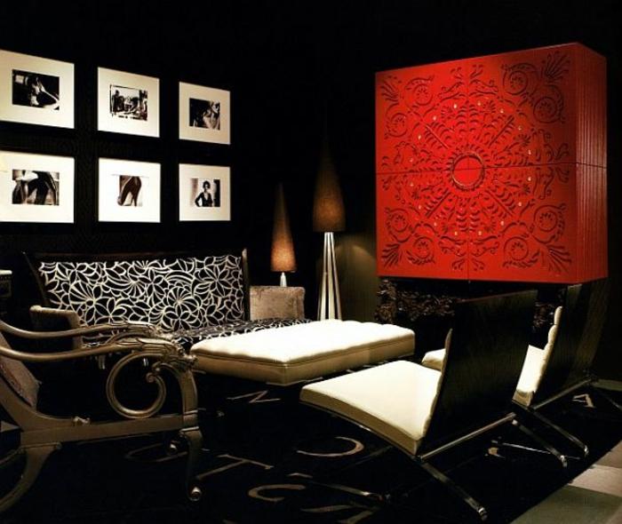 Wohnzimmer rot schwarz weis   wohnzimmer einrichten ideen in wei schwarz und grau in der schwarz ...
