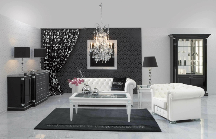 tolles modell wohnzimmer in schwarz - weiße möbel und interessanter ...