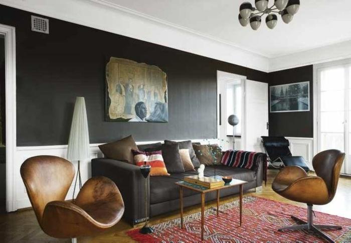 schwarz wohnzimmer:wohnraumgestaltung designer wohnzimmer mit nest tischen wohnzimmer