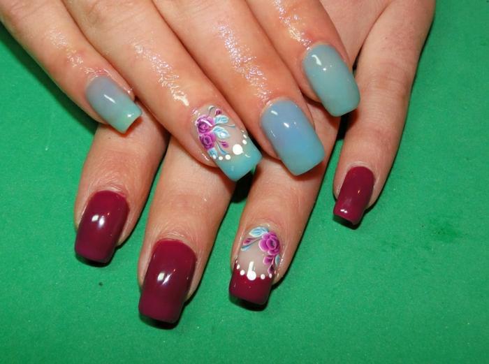 zweifarbige-Nägel-weinrot-türkis-Blumen-Dekoration-Thermo-Effekt-Nagellack
